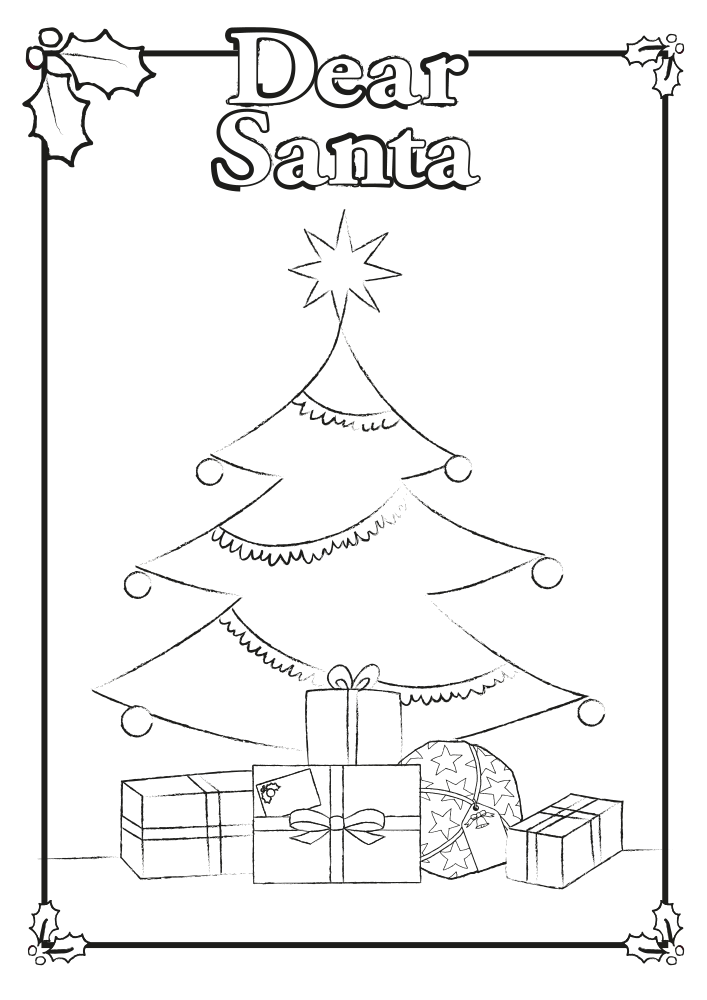 Colouring-Page-Santa-Tree